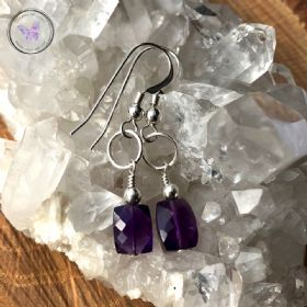 Faceted Amethyst Silver Earrings
